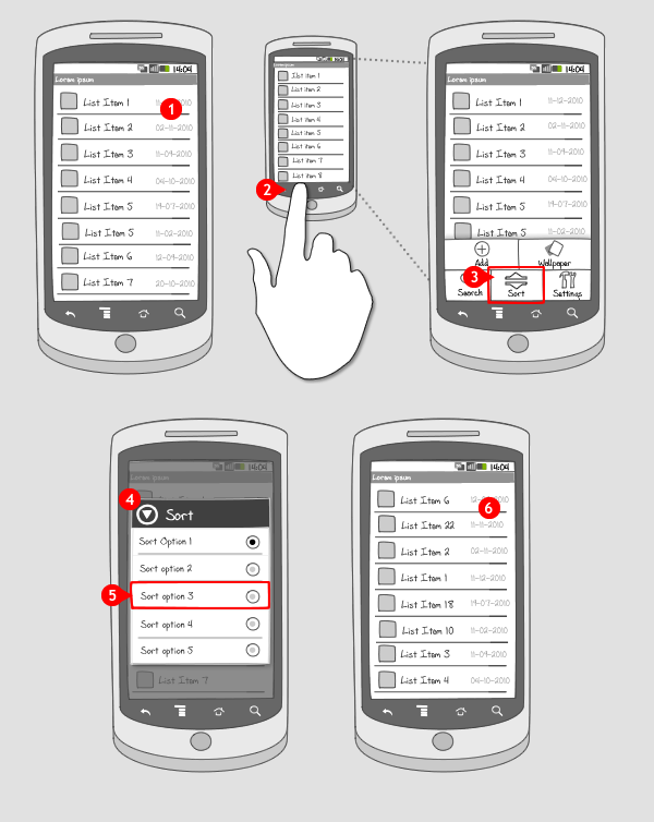 Sort – Sort-key Dialog | Android Interaction Design Patterns |