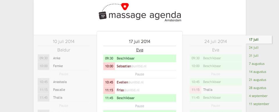 massage calendar tool UNITiD interaction designers