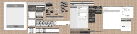 De iPad variant van het grijze template thema